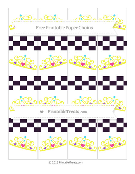 Free Dark Purple Checker Pattern Princess Tiara Paper Chains