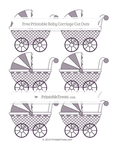 Free Dark Purple Checker Pattern Small Baby Carriage Cut Outs