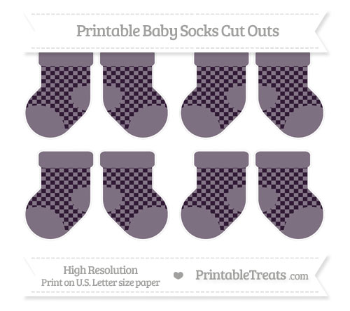 Free Dark Purple Checker Pattern Small Baby Socks Cut Outs
