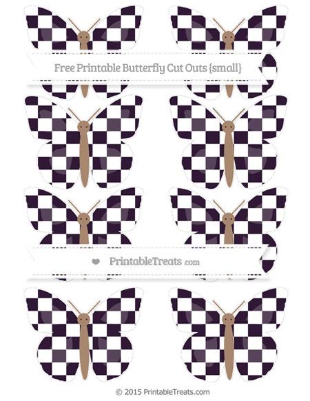 Free Dark Purple Checker Pattern Small Butterfly Cut Outs