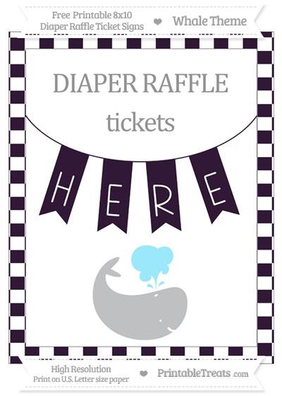 Free Dark Purple Checker Pattern Whale 8x10 Diaper Raffle Ticket Sign