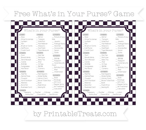 Free Dark Purple Checker Pattern What's in Your Purse Baby Shower Game