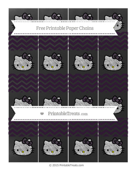 Free Dark Purple Chevron Chalk Style Hello Kitty Paper Chains