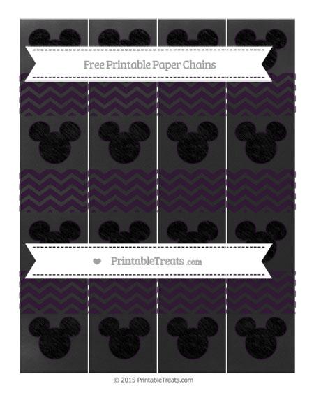 Free Dark Purple Chevron Chalk Style Mickey Mouse Paper Chains