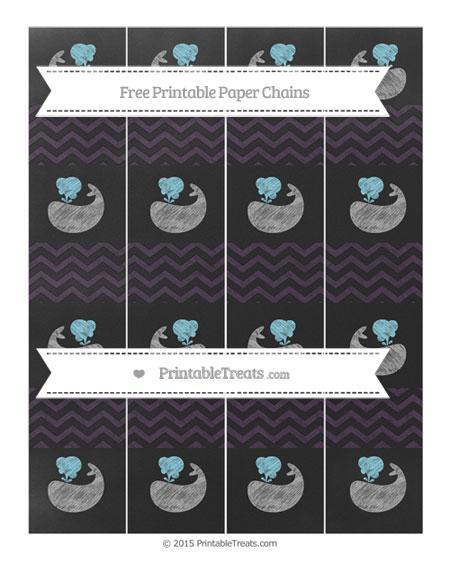 Free Dark Purple Chevron Chalk Style Whale Paper Chains