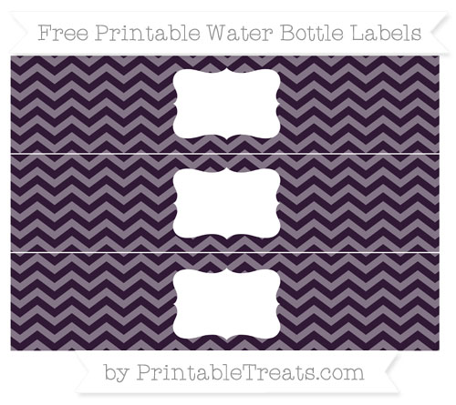 Free Dark Purple Chevron Water Bottle Labels
