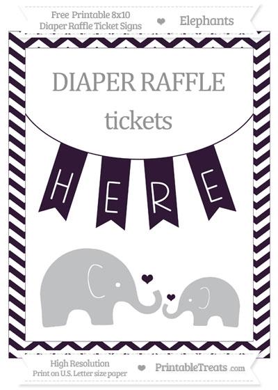 Free Dark Purple Chevron Elephant 8x10 Diaper Raffle Ticket Sign