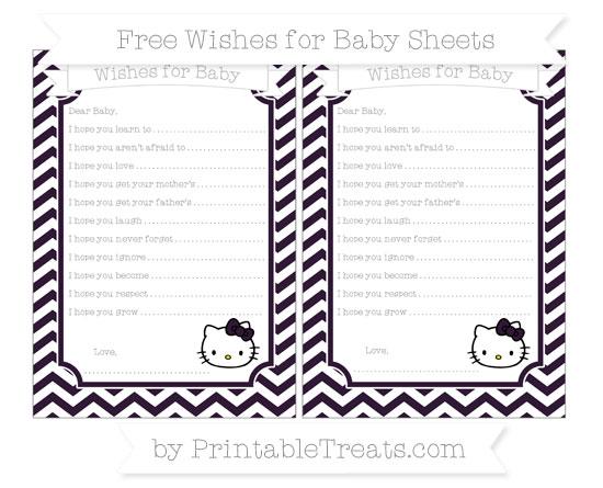 Free Dark Purple Chevron Hello Kitty Wishes for Baby Sheets
