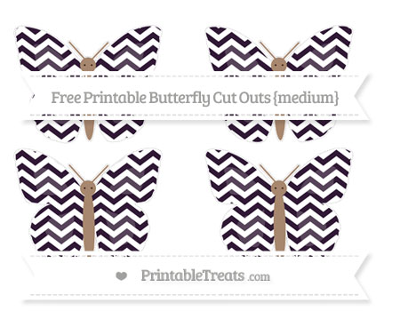 Free Dark Purple Chevron Medium Butterfly Cut Outs