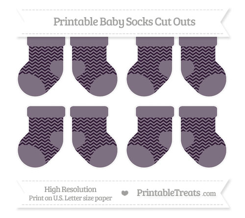 Free Dark Purple Chevron Small Baby Socks Cut Outs