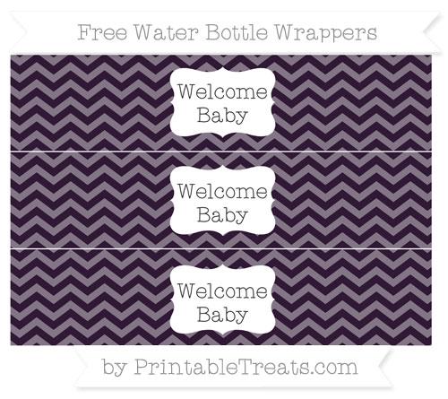 Free Dark Purple Chevron Welcome Baby Water Bottle Wrappers