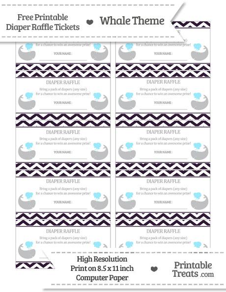 Free Dark Purple Chevron Whale Diaper Raffle Tickets