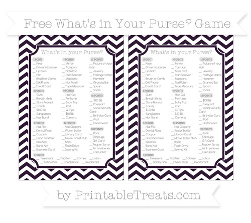 Free Dark Purple Chevron What's in Your Purse Baby Shower Game