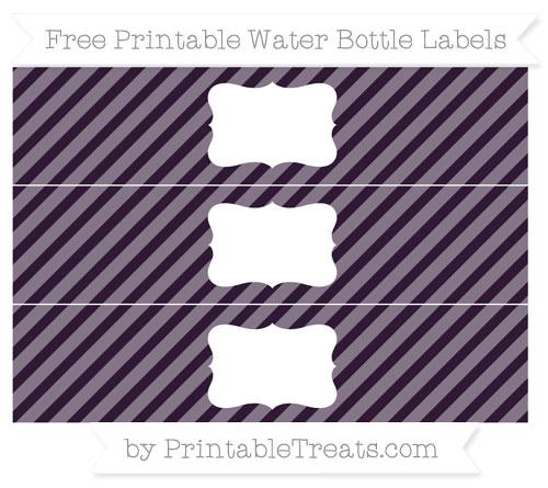 Free Dark Purple Diagonal Striped Water Bottle Labels