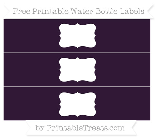 Free Dark Purple Water Bottle Labels