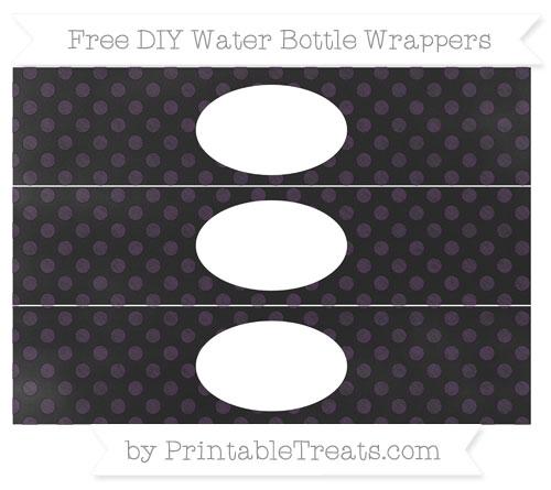 Free Dark Purple Dotted Pattern Chalk Style DIY Water Bottle Wrappers