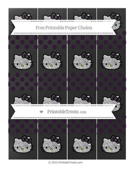 Free Dark Purple Dotted Pattern Chalk Style Hello Kitty Paper Chains