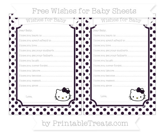 Free Dark Purple Dotted Pattern Hello Kitty Wishes for Baby Sheets