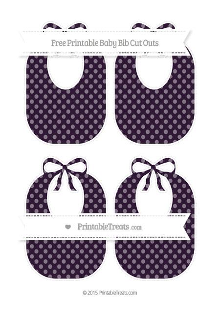Free Dark Purple Dotted Pattern Medium Baby Bib Cut Outs