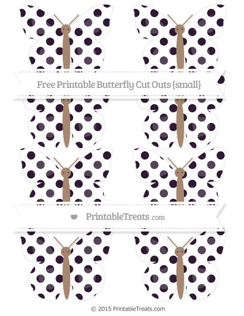 Free Dark Purple Dotted Pattern Small Butterfly Cut Outs