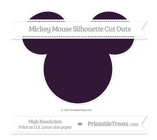Free Dark Purple Extra Large Mickey Mouse Silhouette Cut Outs