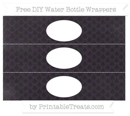 Free Dark Purple Fish Scale Pattern Chalk Style DIY Water Bottle Wrappers