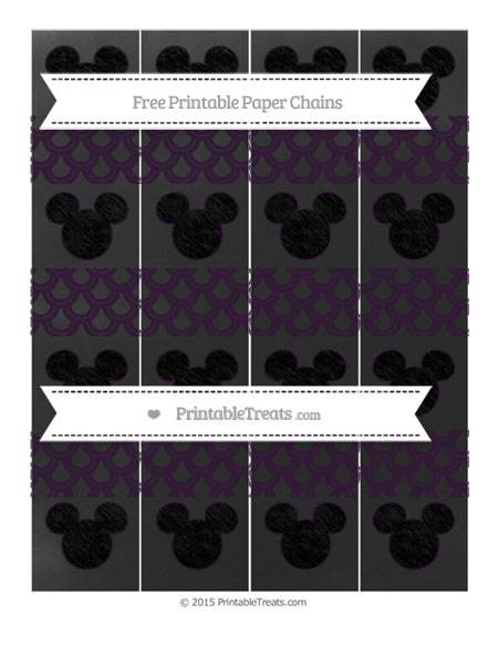 Free Dark Purple Fish Scale Pattern Chalk Style Mickey Mouse Paper Chains
