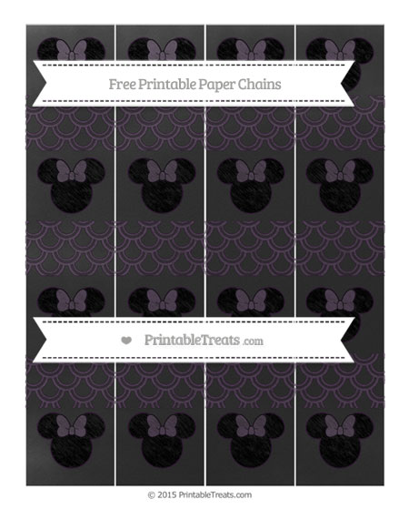 Free Dark Purple Fish Scale Pattern Chalk Style Minnie Mouse Paper Chains