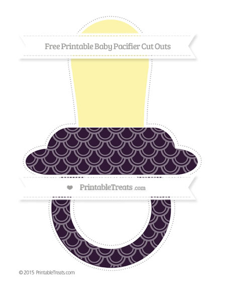 Free Dark Purple Fish Scale Pattern Extra Large Baby Pacifier Cut Outs