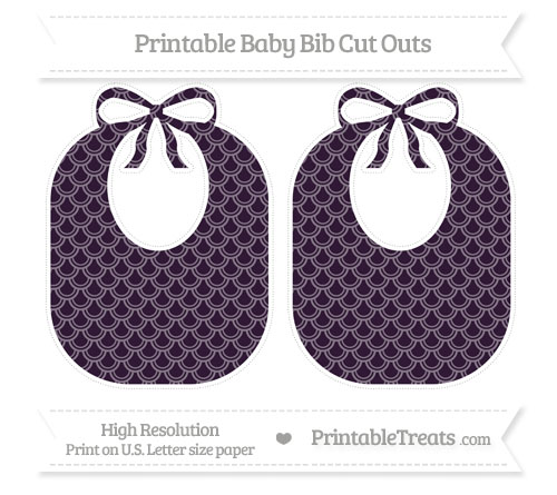 Free Dark Purple Fish Scale Pattern Large Baby Bib Cut Outs