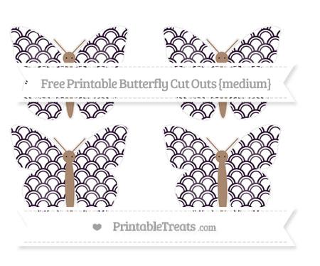 Free Dark Purple Fish Scale Pattern Medium Butterfly Cut Outs