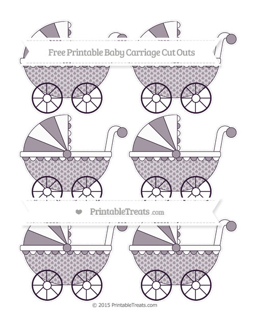 Free Dark Purple Fish Scale Pattern Small Baby Carriage Cut Outs