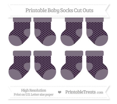 Free Dark Purple Fish Scale Pattern Small Baby Socks Cut Outs
