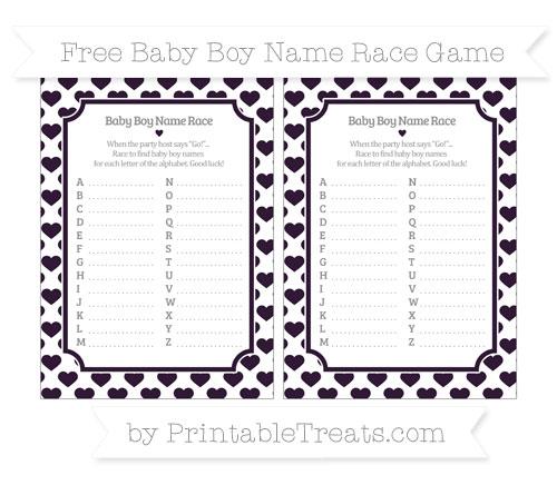 Free Dark Purple Heart Pattern Baby Boy Name Race Game