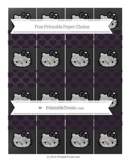Free Dark Purple Heart Pattern Chalk Style Hello Kitty Paper Chains