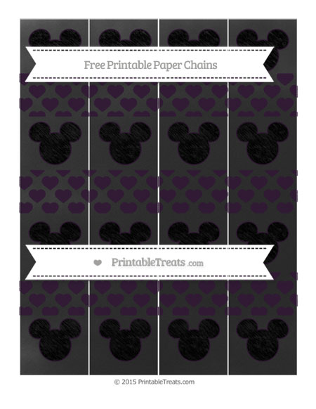 Free Dark Purple Heart Pattern Chalk Style Mickey Mouse Paper Chains