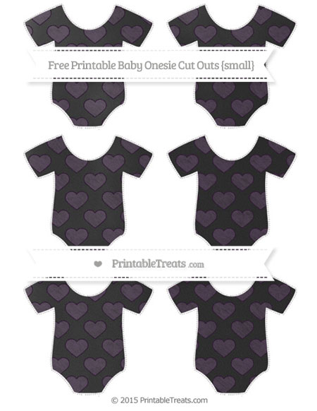 Free Dark Purple Heart Pattern Chalk Style Small Baby Onesie Cut Outs