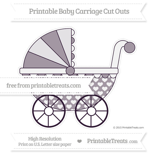 Free Dark Purple Heart Pattern Extra Large Baby Carriage Cut Outs