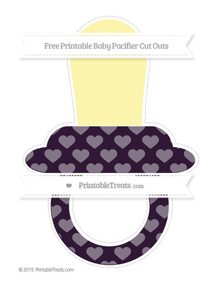 Free Dark Purple Heart Pattern Extra Large Baby Pacifier Cut Outs
