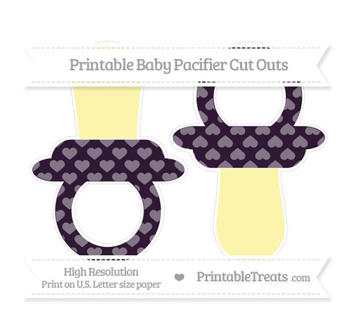 Free Dark Purple Heart Pattern Large Baby Pacifier Cut Outs