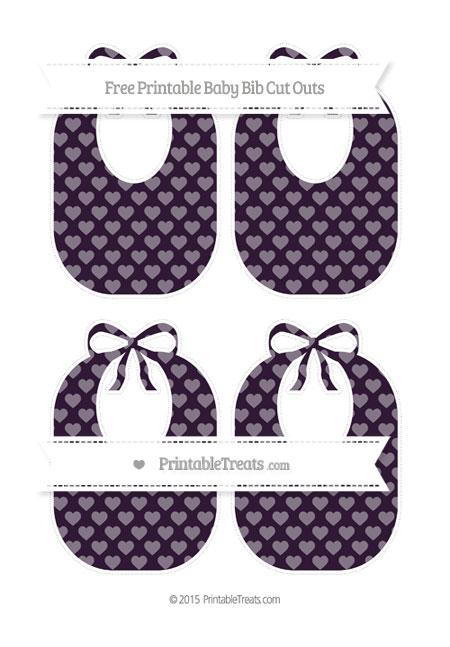 Free Dark Purple Heart Pattern Medium Baby Bib Cut Outs