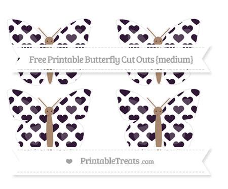 Free Dark Purple Heart Pattern Medium Butterfly Cut Outs