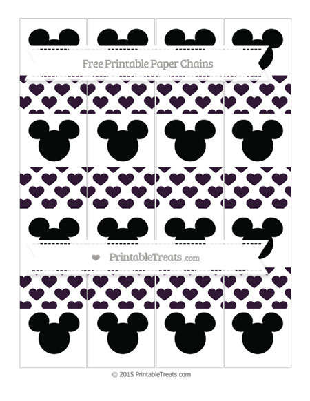 Free Dark Purple Heart Pattern Mickey Mouse Paper Chains