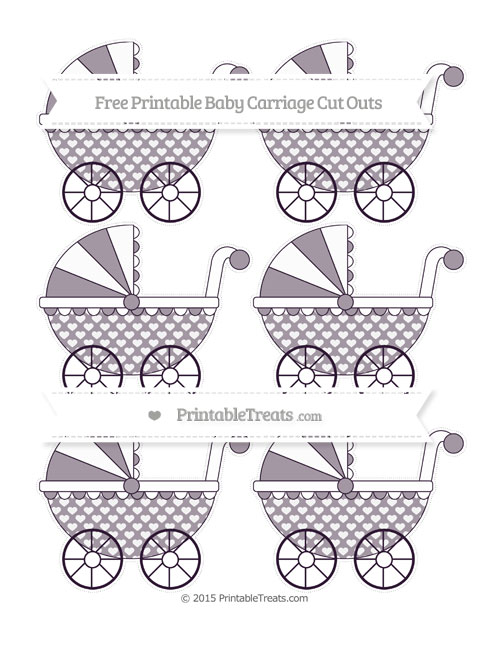 Free Dark Purple Heart Pattern Small Baby Carriage Cut Outs