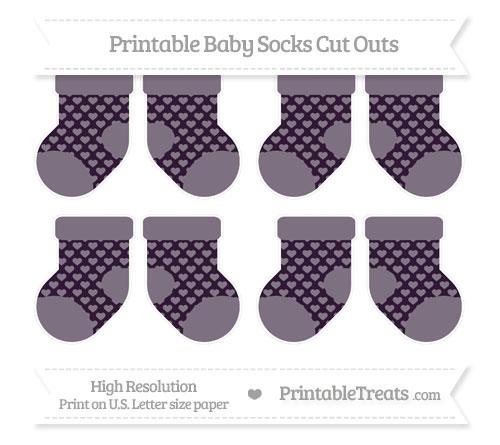 Free Dark Purple Heart Pattern Small Baby Socks Cut Outs