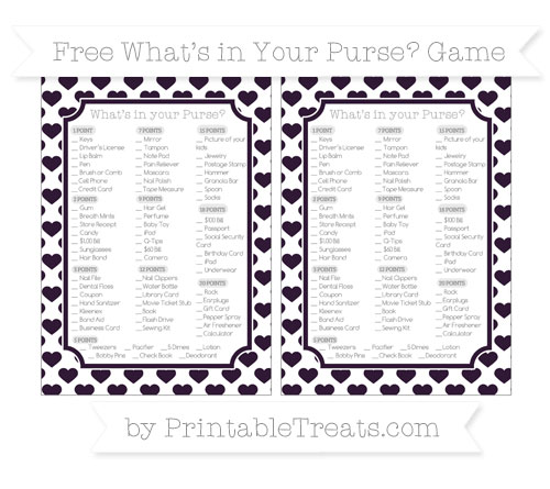 Free Dark Purple Heart Pattern What's in Your Purse Baby Shower Game