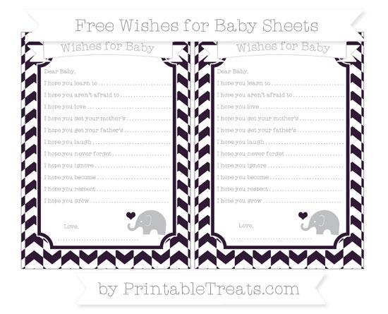 Free Dark Purple Herringbone Pattern Baby Elephant Wishes for Baby Sheets