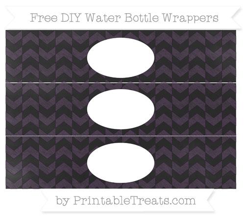 Free Dark Purple Herringbone Pattern Chalk Style DIY Water Bottle Wrappers