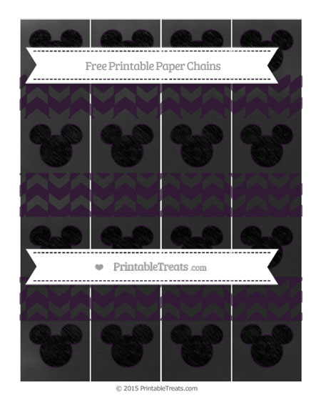 Free Dark Purple Herringbone Pattern Chalk Style Mickey Mouse Paper Chains