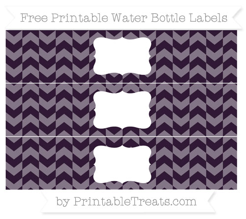 Free Dark Purple Herringbone Pattern Water Bottle Labels
